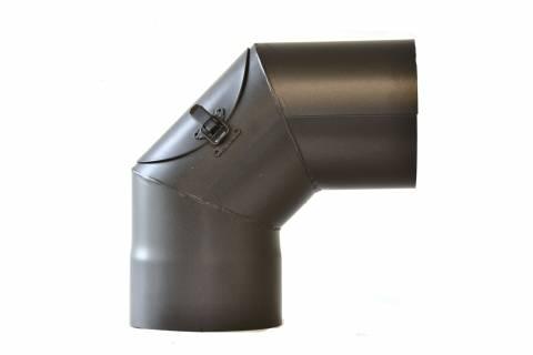 Fe Kouřovod koleno 90° pr.200mm + ČISTÍCÍ OTVOR