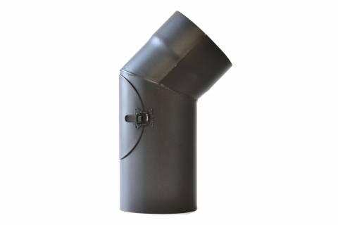 Fe Kouřovod koleno 45° pr.200mm + ČISTÍCÍ OTVOR