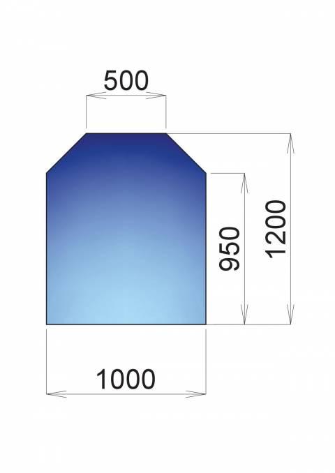 Nerezový plech pod kamna Norimberk, 950x1000x1200x500
